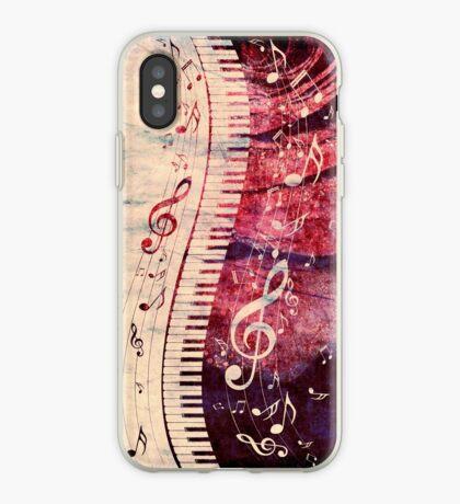 Klaviertastatur mit Musiknoten Grunge iPhone-Hülle & Cover