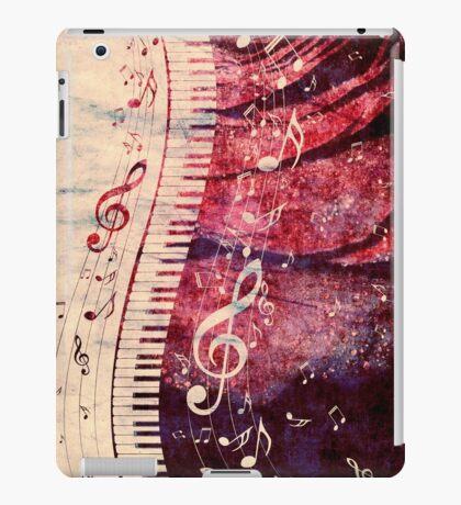 Klaviertastatur mit Musiknoten Grunge iPad-Hülle & Klebefolie