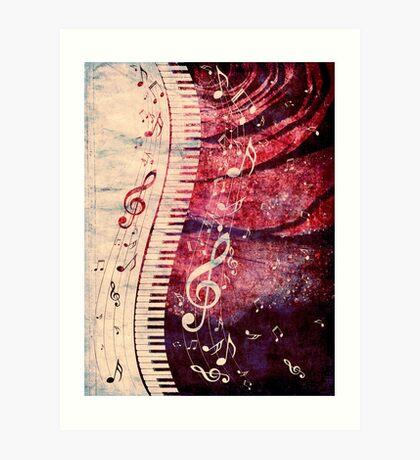 Klaviertastatur mit Musiknoten Grunge Kunstdruck