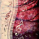 Klaviertastatur mit Musiknoten Grunge von AnnArtshock