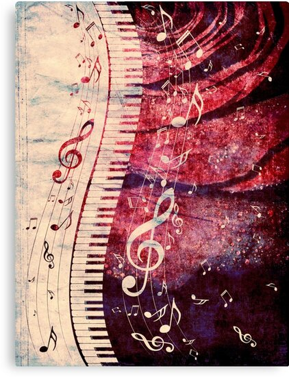 Piano Keyboard with Music Notes Grunge by AnnArtshock