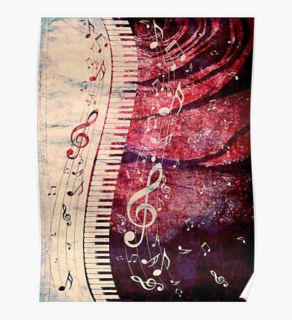 Klaviertastatur mit Musiknoten Grunge Poster