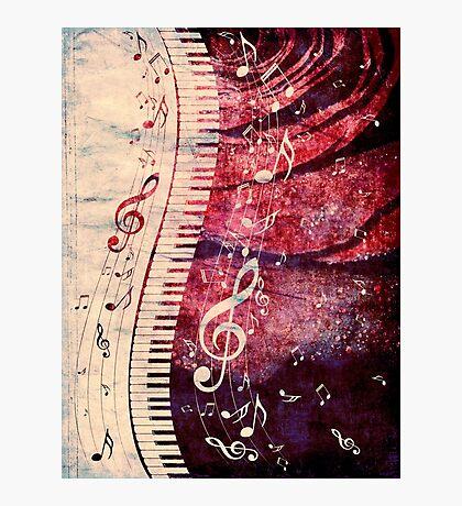 Klaviertastatur mit Musiknoten Grunge Fotodruck
