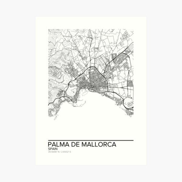 Palma de Mallorca map poster print wall art, Spain gift printable, Home and Nursery, Modern map decor for office, Map Art, Map Gifts Art Print