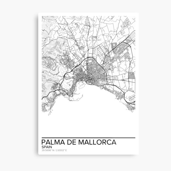 Palma de Mallorca map poster print wall art, Spain gift printable, Home and Nursery, Modern map decor for office, Map Art, Map Gifts Metal Print