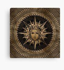 Golden Apollo Sun God on Greek Key Ornament Canvas Print