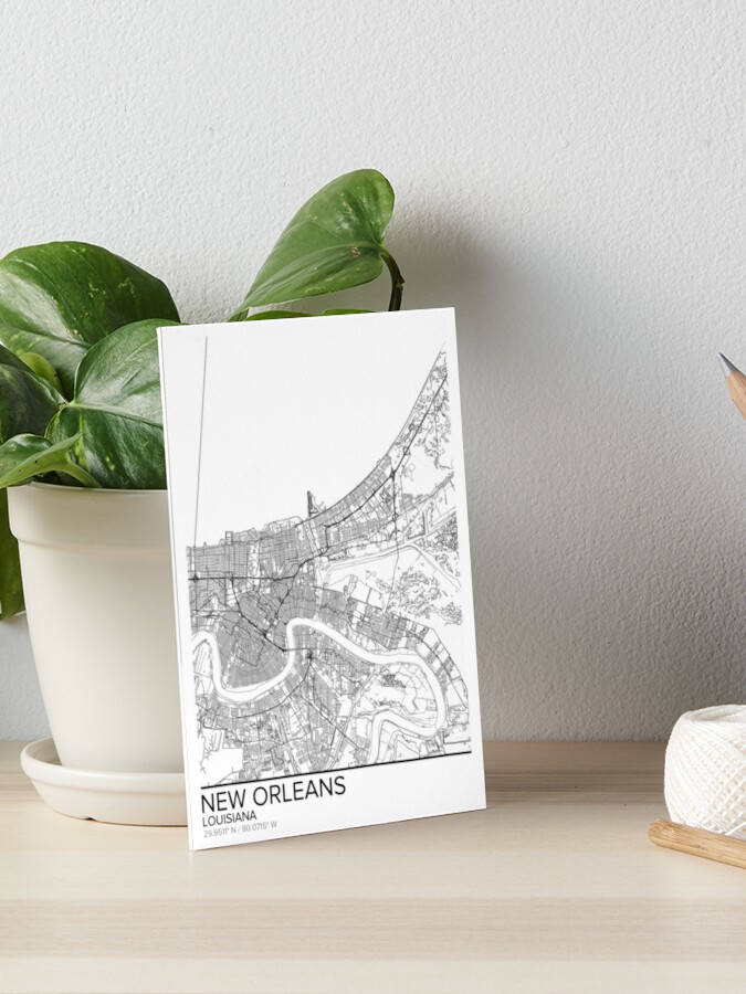 New Orleans Map Poster Print Wall Art Modern Louisiana Gift for Home and Office