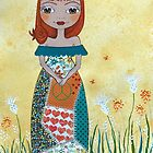 PEACE Whimsical Girl In The Wild Flowers by Lisafrancesjudd