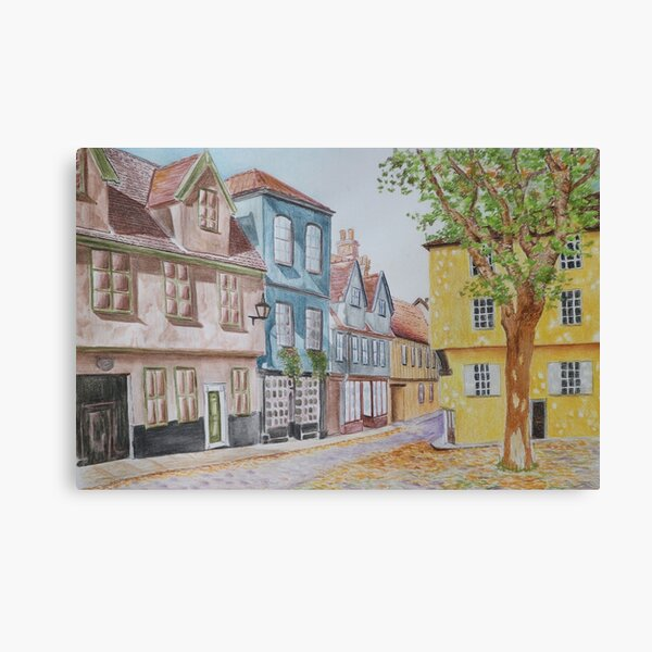 Elm Hill, Norwich - Watercolor and pastel painting Canvas Print