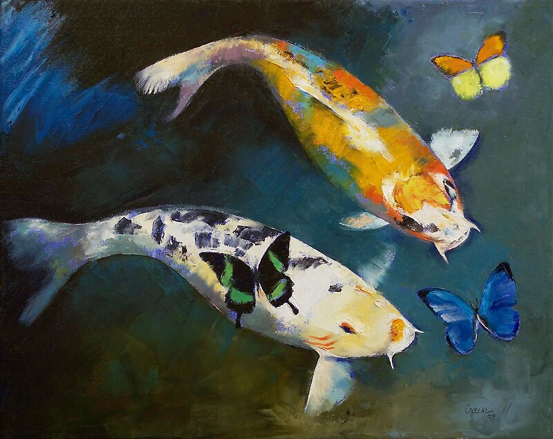 Koi fish and butterflies photographic prints by michael for Michael koi pond