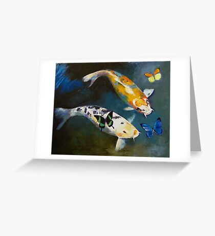 Koi Fish and Butterflies Greeting Card