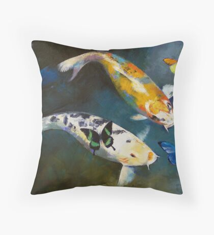 Koi Fish and Butterflies Throw Pillow