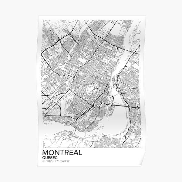 Affiche carte de Montréal impression murale, cadeau du Québec imprimable, Maison et chambre de bébé, Décor de carte moderne pour le bureau, Art de la carte, Cadeaux de carte Poster