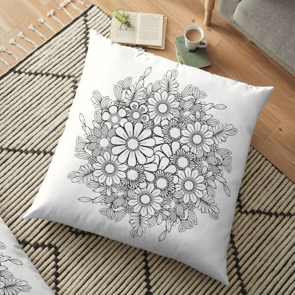 Black and White Floral Bouquet  Floor Pillow