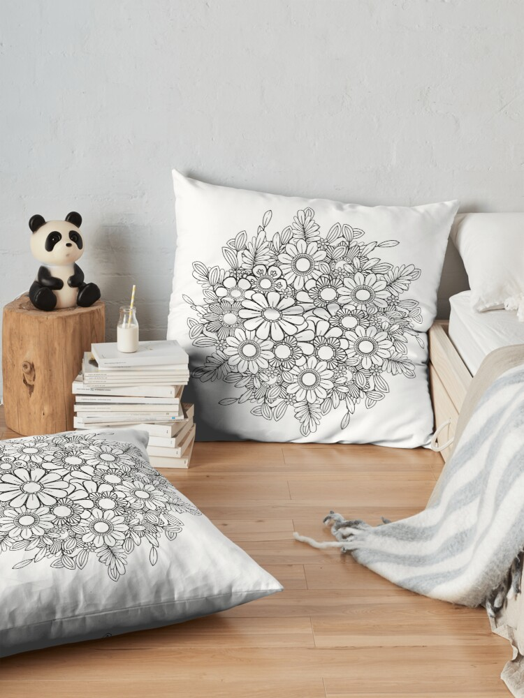 Alternate view of Black and White Floral Bouquet  Floor Pillow
