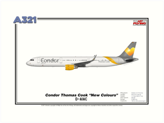 """Airbus A321 - Condor Thomas Cook """"New Colours"""" (Art Print) by TheArtofFlying"""