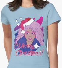 Jem and the Holograms 80s 1980s Cartoon Merry Christmas Greeting Ugly Sweater Women's Fitted T-Shirt