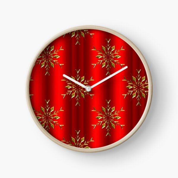 Gold Christmas Stars on Red Clock