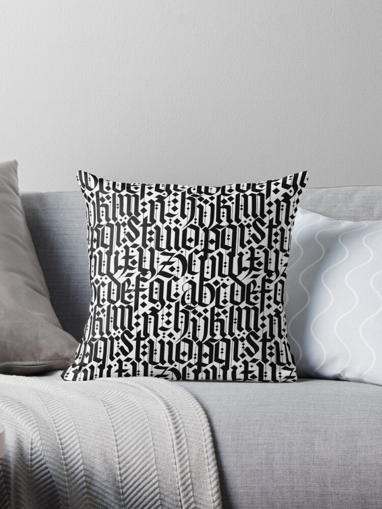 Typography Pattern 3 Old Gothic Calligraphy Design Seamless Throw Pillow By Ohaniki Redbubble