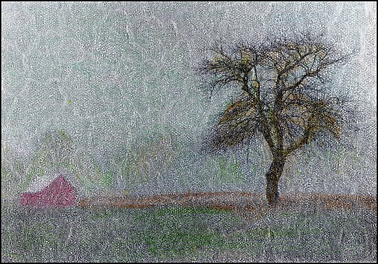 Red Barn in Snowstorm by Wayne King