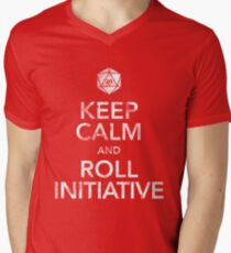 Keep Calm and Roll Initiative (White Text) Men's V-Neck T-Shirt