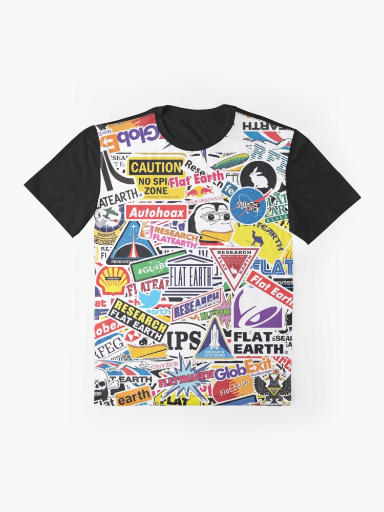 Alternate view of Flat Earth Stickers  Graphic T-Shirt