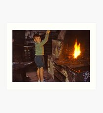 Me in Blacksmith's shop, Ardara, Co Donegal, Ireland circa 1959 Art Print