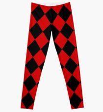 Arlequin - tiles pattern - Red version Leggings