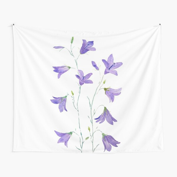purple harebell wildflower watercolor Tapestry