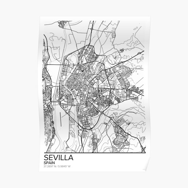 Sevilla Map Poster Print Wall Art Spain Gift Printable Home And Nursery Modern Map Decor For Office Map Art Map Gifts Poster By Marzzgraphics Redbubble