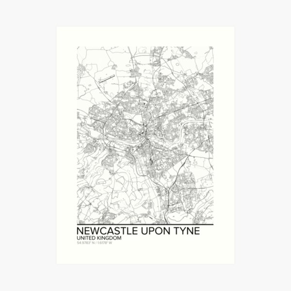 Newcastle-upon-Tyne map poster print wall art, United Kingdom gift printable, Home and Nursery, Modern map decor for office, Map Art, Map Gifts Art Print