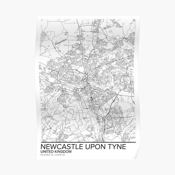 Newcastle-upon-Tyne map poster print wall art, United Kingdom gift printable, Home and Nursery, Modern map decor for office, Map Art, Map Gifts Poster