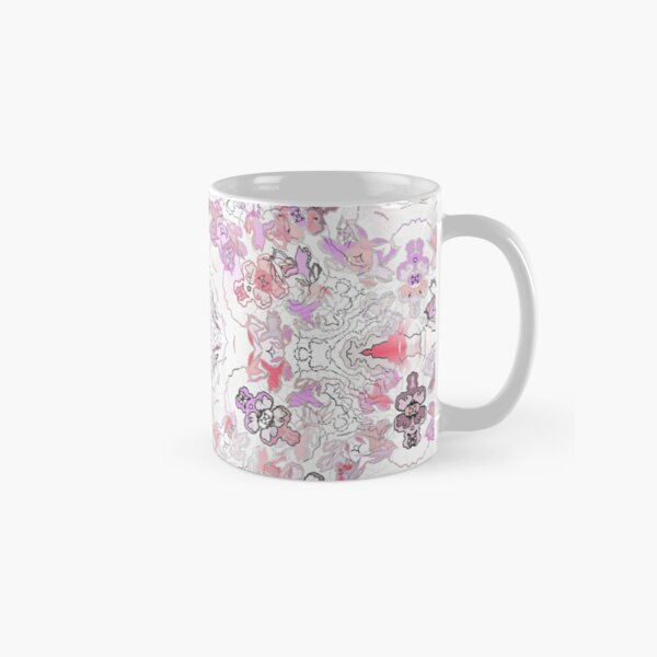 Pink Floral Ties and Circles Design Offering by Green Bee Mee Classic Mug