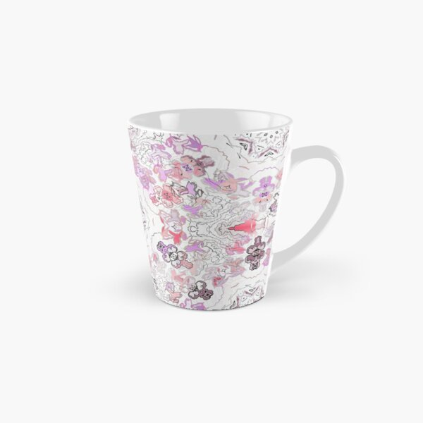 Pink Floral Ties and Circles Design Offering by Green Bee Mee Tall Mug