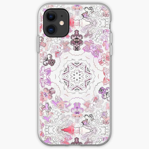 Pink Floral Ties and Circles Design Offering by Green Bee Mee iPhone Soft Case