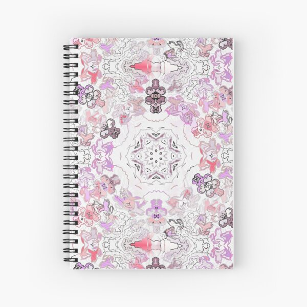 Pink Floral Ties and Circles Design Offering by Green Bee Mee Spiral Notebook