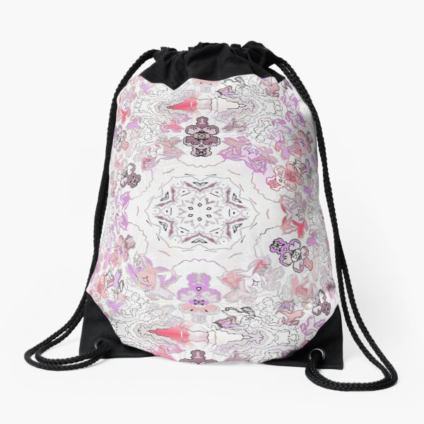 Pink Floral Ties and Circles Design Offering by Green Bee Mee Drawstring Bag