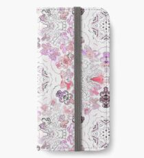 Pink Floral Ties and Circles Design Offering by Green Bee Mee iPhone Wallet/Case/Skin