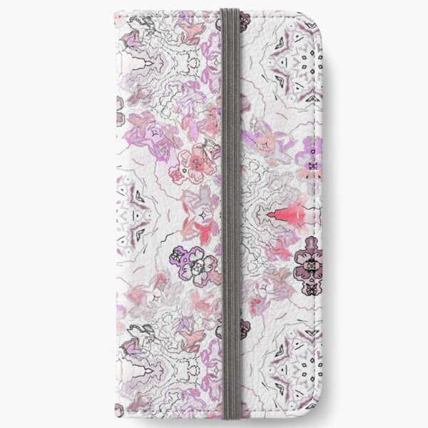 Pink Floral Ties and Circles Design Offering by Green Bee Mee iPhone Wallet