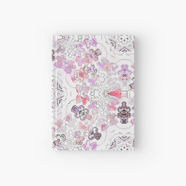 Pink Floral Ties and Circles Design Offering by Green Bee Mee Hardcover Journal