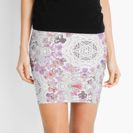 Pink Floral Ties and Circles Design Offering by Green Bee Mee Mini Skirt