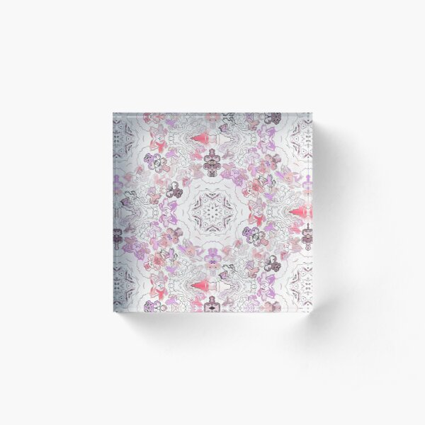 Pink Floral Ties and Circles Design Offering by Green Bee Mee Acrylic Block