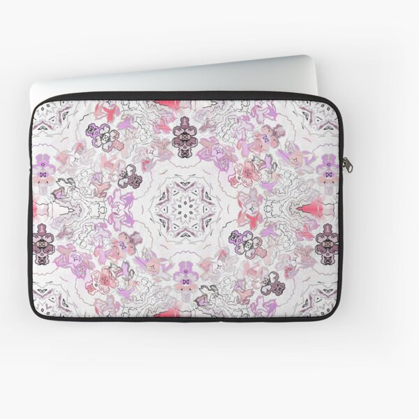 Pink Floral Ties and Circles Design Offering by Green Bee Mee Laptop Sleeve