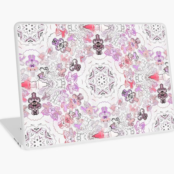 Pink Floral Ties and Circles Design Offering by Green Bee Mee Laptop Skin