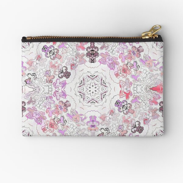 Pink Floral Ties and Circles Design Offering by Green Bee Mee Zipper Pouch