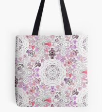 Pink Floral Ties and Circles Design Offering by Green Bee Mee Tote Bag