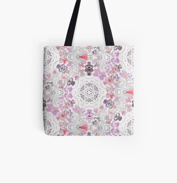 Pink Floral Ties and Circles Design Offering by Green Bee Mee All Over Print Tote Bag