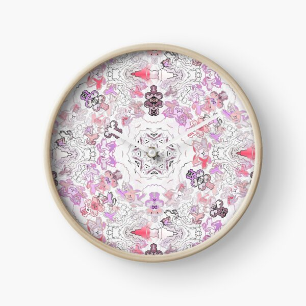 Pink Floral Ties and Circles Design Offering by Green Bee Mee Clock