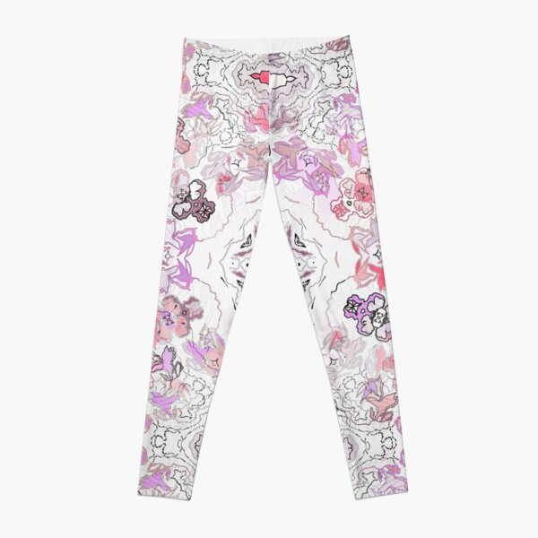 Pink Floral Ties and Circles Design Offering by Green Bee Mee Leggings