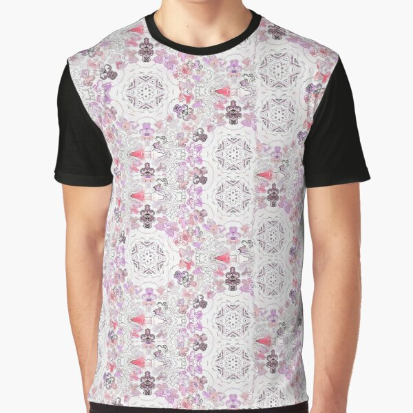 Pink Floral Ties and Circles Design Offering by Green Bee Mee Graphic T-Shirt